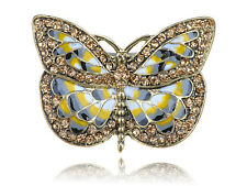Big Antique Gold Tone Butterfly Wings Insect Crystal Rhinestone Ring