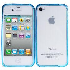 Silikon Case Apple iPhone 4 4S Bumper Cover Schutzhülle Blau Transparent Hülle