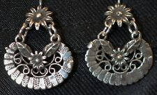 Mexican  0.925 Sterling Silver Earrings Flowers Frida Kahlo Style Jewelry