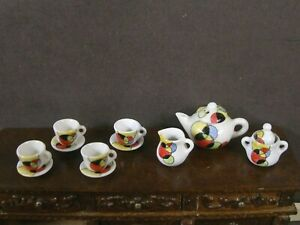 11 PIECE ~ PORCELAIN TEA SET ~Dollhouse~ England ~1:12 scale ~ Marked ~ Art Deco