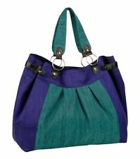 Peacock Ethical Silk Large Tote Bag in  Purple Green By La Vie Devant Soie