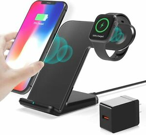 Wireless Charger, 2 in 1 Wireless Qi Fast Charging Dock + iWatch iPhone Stand