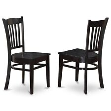 East West Furniture Dining Chair With Wood Seat In Black Finish, Set Of 2 NEW