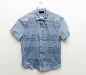 Country Road Mens Blue Slim Fit Short Sleeve Button Front Shirt - sz XL
