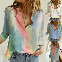 Womens Floral Print Long Sleeve Blouse Lady V Neck Loose Casual T-Shirt Tops