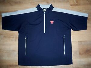 Men's NWOT FOOTJOY 1/2 Zip Golf Wind Shirt XL NAVY BLUE w/Gray Trim w/FJ & Golf