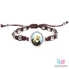 "Inspirational St. Pio Stigmata Portrait Rosary Bracelet Brown Cord 7"" Adjustable"