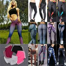 Damen Capri Leggings Baumwolle Stretch Hose Fitness Leggins Stoffhose Tights Neu