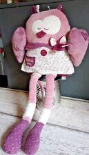 Peluche Doudou Mam' Zelle Bou chouette hibou rose violet cœur 42 cm SAUTHON