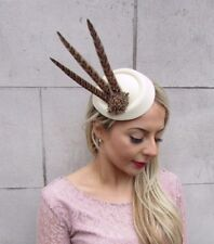 Cream Bronze Brown Pheasant Feather Pillbox Hat Hair Clip Fascinator Races 4533