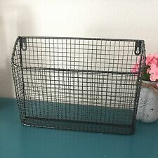 Wire Metal WALL POCKET Industrial Magazines Mail Storage Crate Hanging BASKET