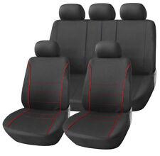Asiento Leon Hatchback 05-12 Negro Deporte cubiertas de asiento con Rojo Tubería