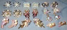 Great Lot  10 pair  Vintage  Rhinestone Earrings  Aurora Borealis Stones
