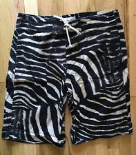 Ralph Lauren Denim & Supply Zebra Print Board Shorts Size 34 NWOT