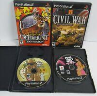 Lot of 4 PS2 PlayStation 2 Games GTA San Andreas Vice City Civil War Deer Hunt