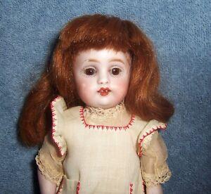 "PRETTY~Antique German Porcelain ALL Bisque Girl Doll~8"" Dollhouse~Original Dress"
