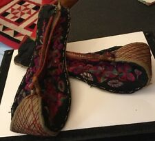 Vintage chinois Miao Hmong Tribal Ethnique Folk Broderie Costume Chaussures Frisé Orteils