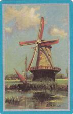 #61 1 vintage single playing swap card - Windmill scene  - JS