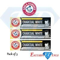 3 x Arm & Hammer Toothpaste Charcoal White Activated Removes 100% Surface Stains