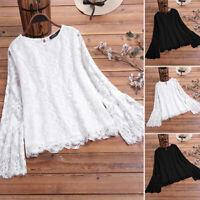 Elegant Ladies Long Bell Sleeve Shirt Tops Lace Crochet Blouse Crew Neck Tops US