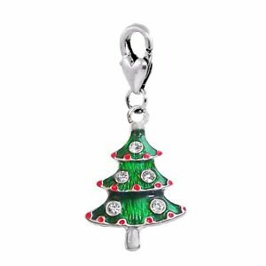 Christmas Tree Green Enamel Holiday Lobster Claw Clip Dangle Charm for Bracelets