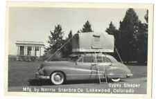 RPPC - GYPSY SLEEPER CAMPER On Top of 1946 BUICK. Norris Stanbro Co. LAKEWOOD CO