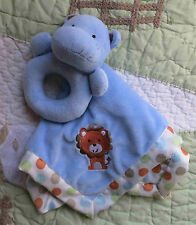 Carter's Blue Plush Snuggle Me Lion Baby Security Blanket w Hippo Rattle Toy Euc