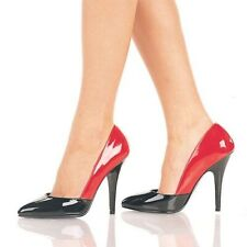 Pleaser Seduce 423 Black Red Patent Stiletto Shoes Size UK 2