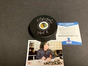 Eddie Ed Belfour Chicago Blackhawks Autographed Signed Puck HOF 11 Beckett COA