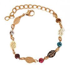 Bracciale braccialetto dorato motivo a foglia - foglie - Leaf , leaves bracelet