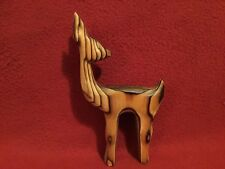 "Vtg. Retro Christmas ""Deer"" Hand carved Cryptomeria Wood John Tyro DenHaag label"