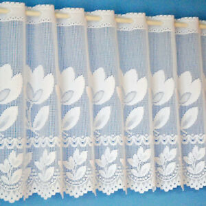 """Tulip Floral Cream Quality Cafe Net Curtain In 12"""" 18"""" 24"""" - SOLD BY THE METRE"""