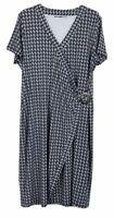 Liz Jordan Womens Black/White Short Sleeve Wrap Dress Size 18