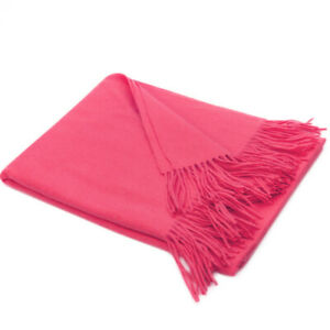 """50x70"""" Pink Wool Cashmere Throw Blanket. Natural, Warm, Soft and Cozy"""