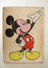 Disney Mickey Presents Wood Mount Rubber Stamp. Mickey Mouse. Made in USA