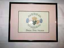"""Bless This House"" Framed Cross Stitch 10 X 8 Claddagh Celtic Irish"