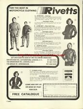 Rivetts Clothing Motorcycle 1977 Magazine Advert #2824