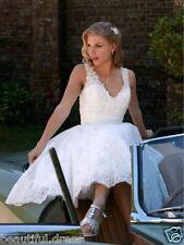 New White/Ivory Lace V Neck short Wedding Dress Bridal Gown Custom Size 4-26+