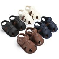 Baby Kids Soft Soled Leather Casual Shoes Summer Boy Sandals Prewalker 0-18M