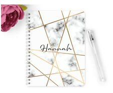 Personalised Notebook Notepad A5 Wedding Planner Party Grey Gold Marble Planner