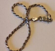 ITALY STERLING SILVER ROPE CHAIN BRACELET 8""