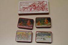 New Vintage Set of 4 Victorian Memories Tins Christmas Boxes Lillian Vernon 1981