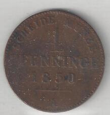 PRUSSIA, GERMAN STATE, 1850-A,  4 PFENNIG, COPPER,  KM#454,  VERY FINE