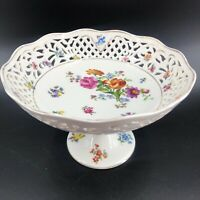 Vtg Schumann Dresden Reticulated Porcelain Compote Pedestal Bowl Footed Exc 10X6