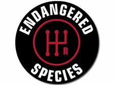 4x4 inch Round Stick Shift Endangered Species Sticker (Logo car Manual Detroit)