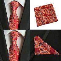 Men Orange Red Paisley Necktie Pocket Square Handkerchief Hanky Set Lot HZTIE087