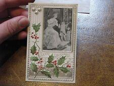 US Postcard Used Christmas Woman Cherub as Santa Fireplace