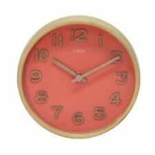 Leni Wooden Table and Wall Clock - Coral, Teal, White, Black 18cm