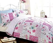 Butterfly Patchwork Floral Bedding Duvet Quilt Set Single Double King Pink