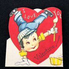 Vtg 40s 50s Valentines Card Stunt Boy Painter Unusual Sweet Blue Jeans Sneakers